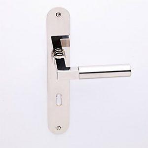 Bauhaus nikkel op ovaalschild met sleutelgat