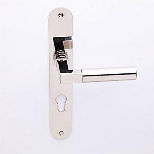 Bauhaus nikkel op ovaalschild met cilindergat