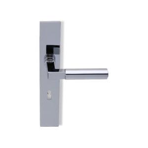 Deurkruk Bauhaus chroom op haaks geveerd schild met sleutelgat