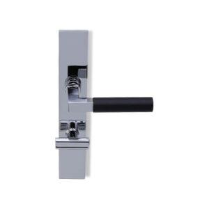 Deurkruk Bauhaus chroom/ebben op haaks geveerd schild vrij- en bezet uitvoering mies