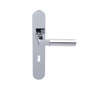 Deurkruk Bauhaus chroom op ovaal geveerd schild met sleutelgat