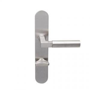 Deurkruk Bauhaus matnikkel op ovaal geveerd schild vrij- en bezet uitvoering