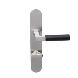 Deurkruk Bauhaus matnikkel/ebben op ovaal geveerd schild vrij- en bezet uitvoering