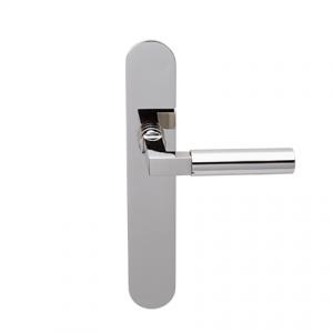Deurkruk Bauhaus nikkel op ovaal geveerd schild blind
