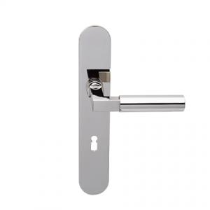 Deurkruk Bauhaus nikkel op ovaal geveerd schild met sleutelgat