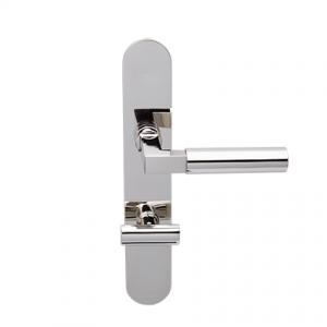 Deurkruk Bauhaus nikkel op ovaal geveerd schild vrij- en bezet uitvoering Mies