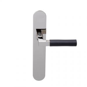 Deurkruk Bauhaus nikkel/ebben op ovaal geveerd schild blind