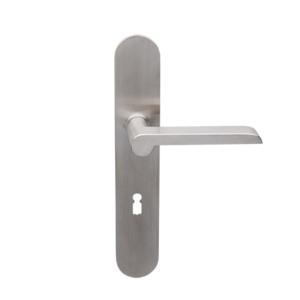 Deurkruk Bremen matnikkel op ovaal geveerd schild met sleutelgat