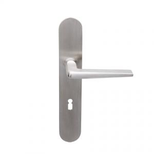 Deurkruk Burchartz matnikkel op ovaal geveerd schild met sleutelgat