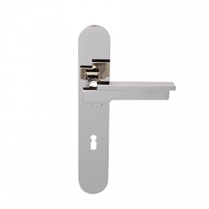 Deurkruk Dessau nikkel op ovaal geveerd schild met sleutelgat