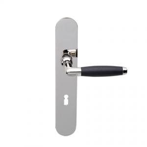 Deurkruk Ton nikkel/ebben op ovaal geveerd schild met sleutelgat