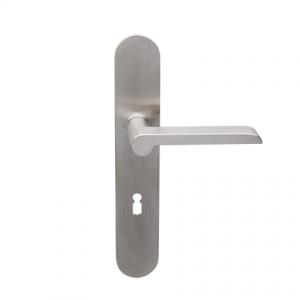 Deurkruk Wilhelm matnikkel op ovaal geveerd schild met sleutelgat