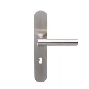 Deurkruk Weimar L-model matnikkel op ovaal geveerd schild met sleutelgat