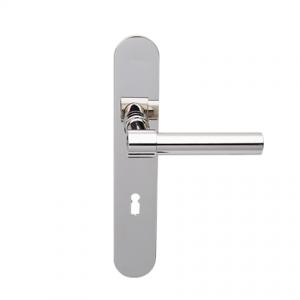 Deurkruk Weimar L-model nikkel op ovaal geveerd schild met sleutelgat